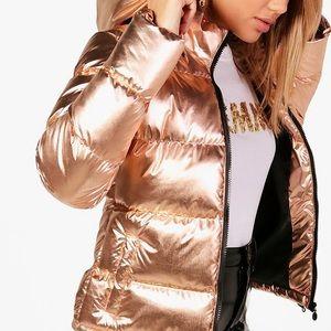 Metallic rose gold puffer jacket